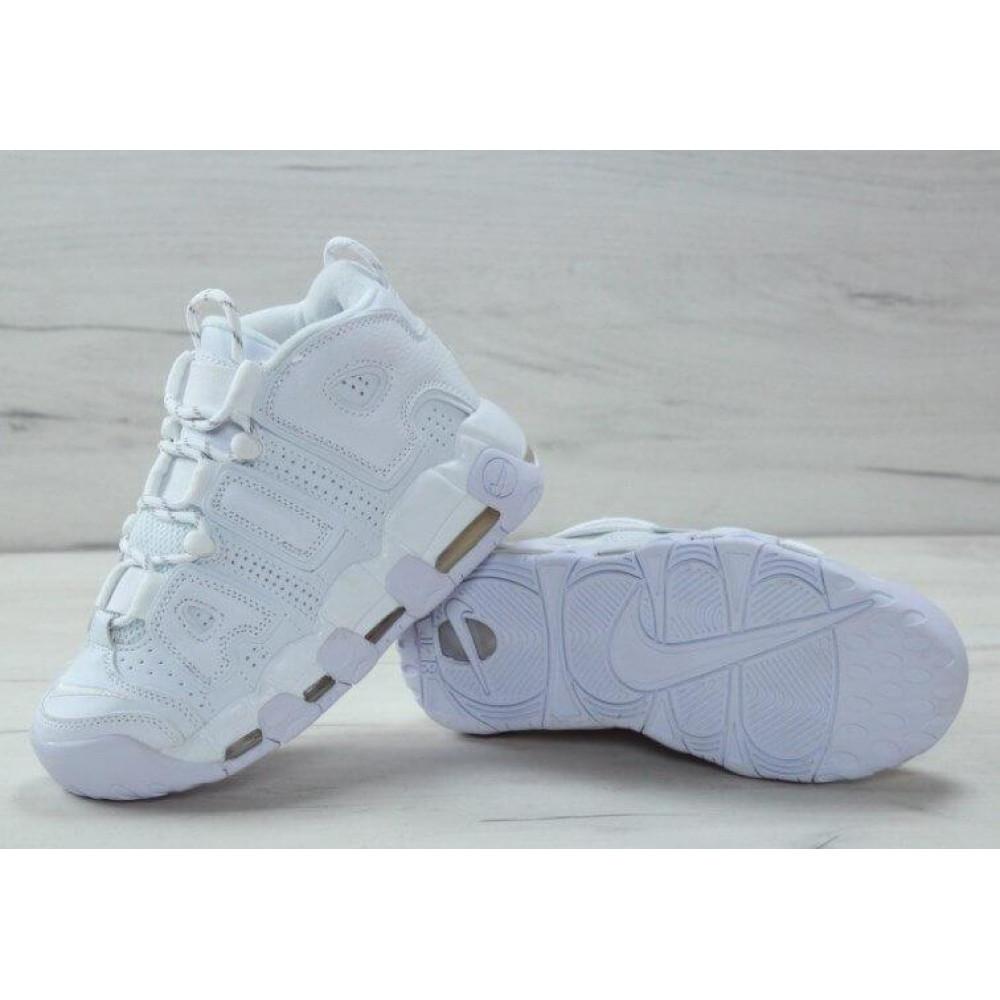 Кожаные кроссовки мужские - Белые кожаные кроссовки Air More Uptempo 5