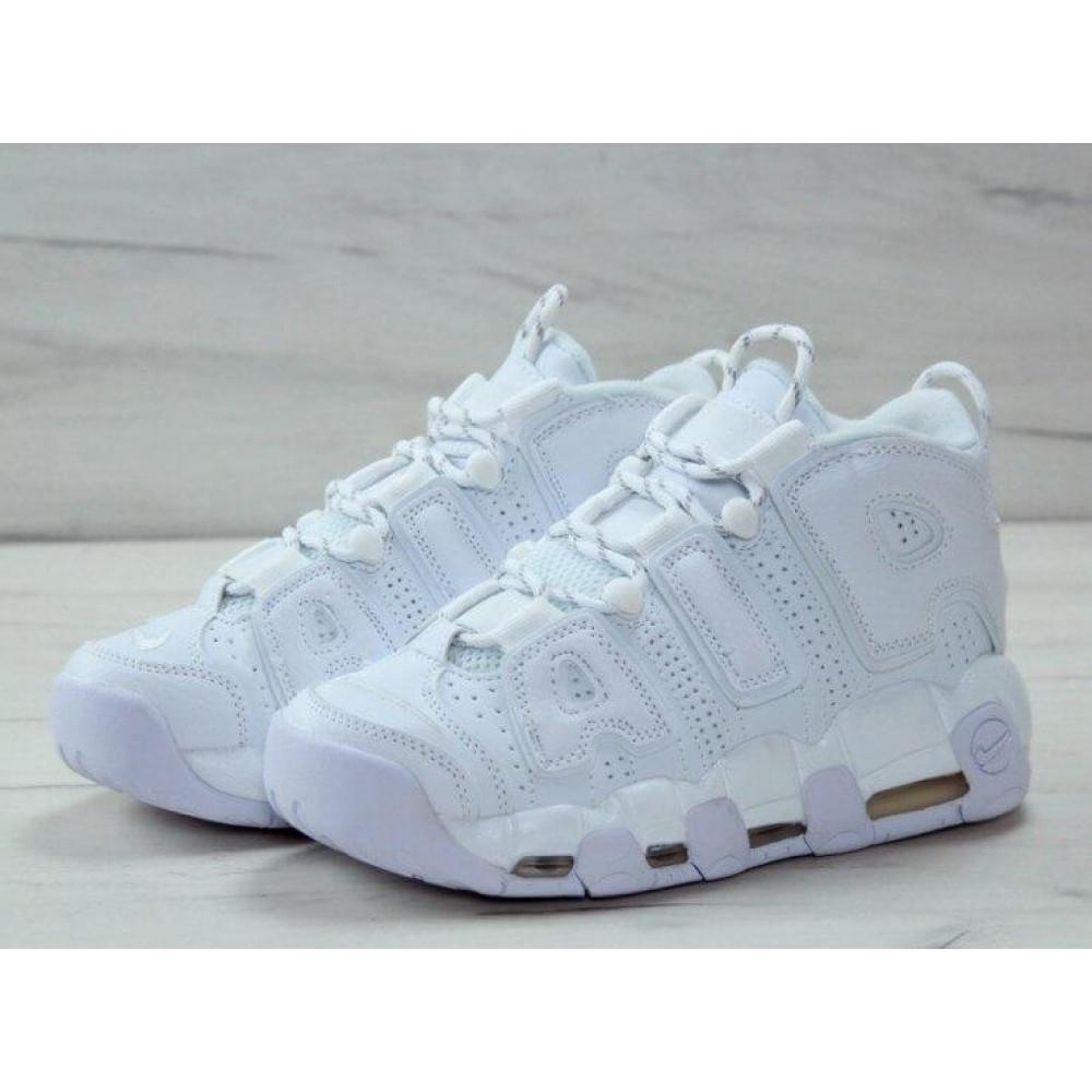 Кожаные кроссовки мужские - Белые кожаные кроссовки Air More Uptempo 2