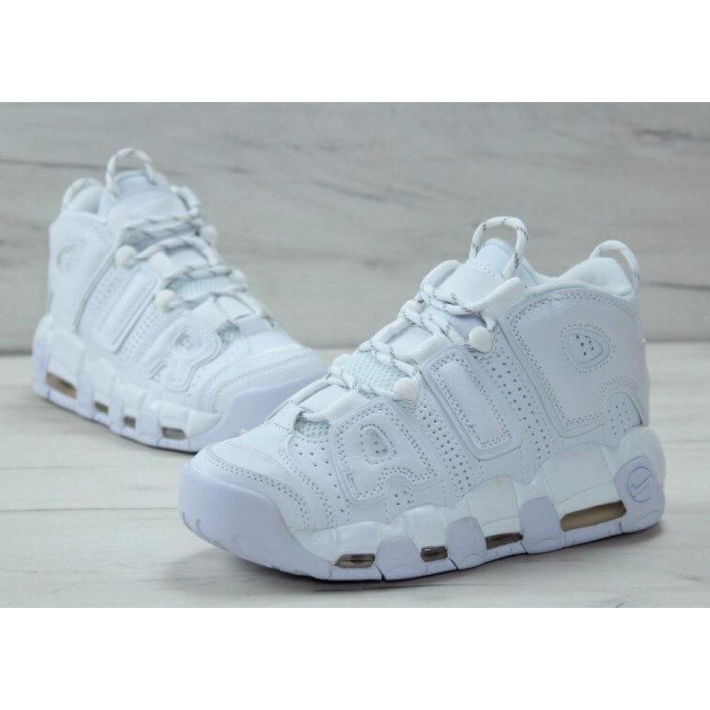 Кожаные кроссовки мужские - Белые кожаные кроссовки Air More Uptempo 3