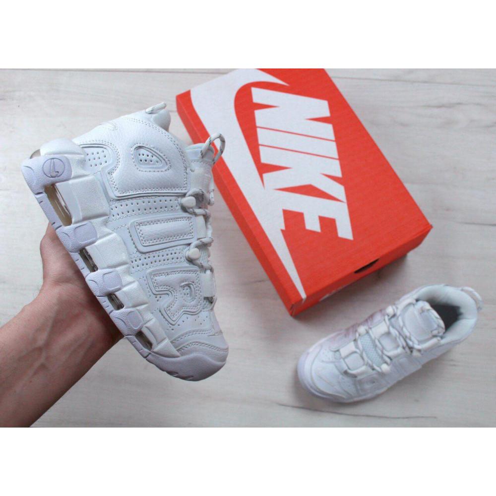Кожаные кроссовки мужские - Белые кожаные кроссовки Air More Uptempo 1