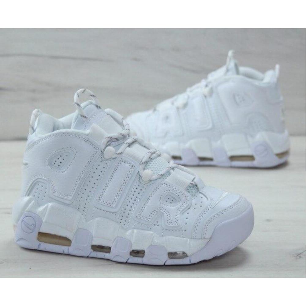 Кожаные кроссовки мужские - Белые кожаные кроссовки Air More Uptempo 4