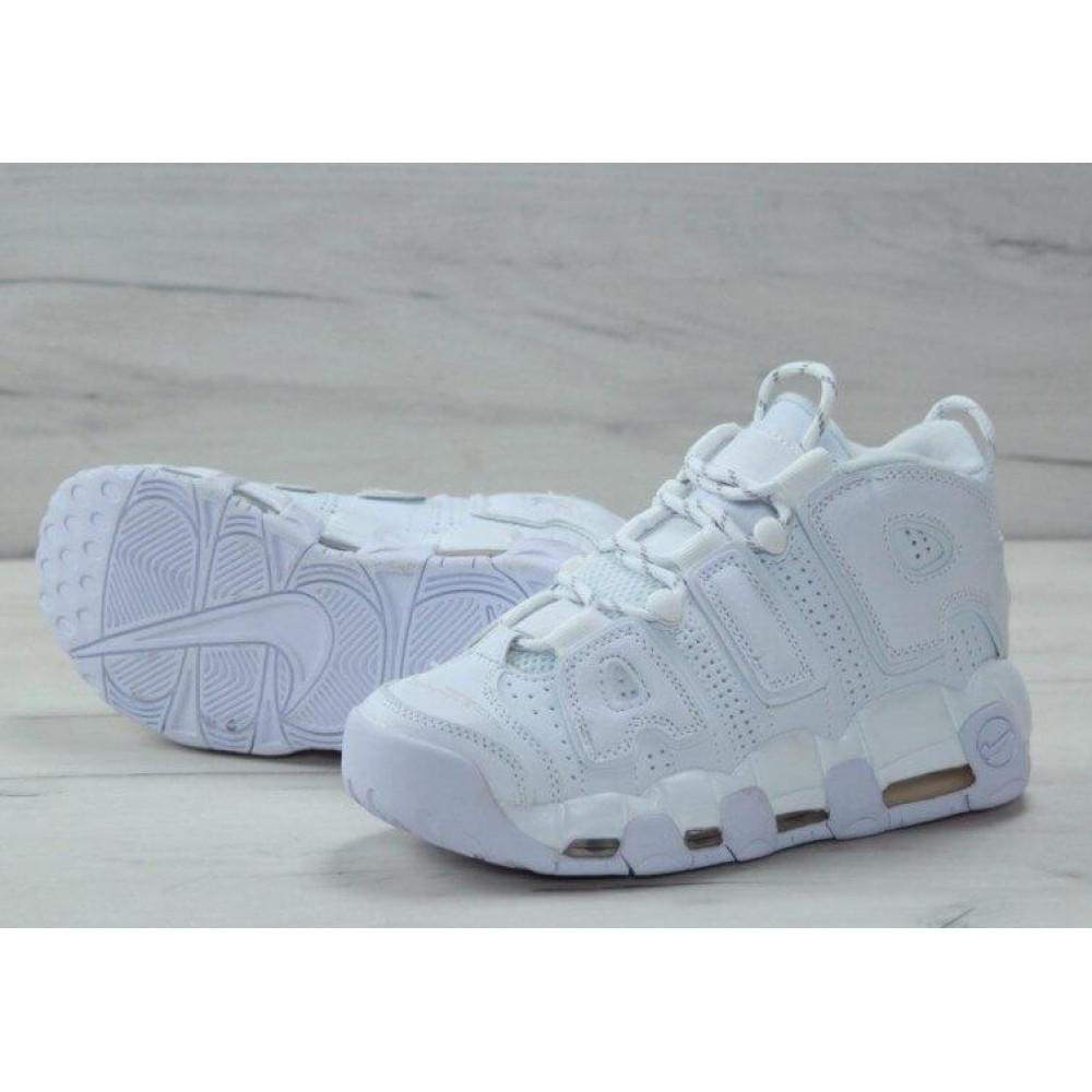 Кожаные кроссовки мужские - Белые кожаные кроссовки Air More Uptempo