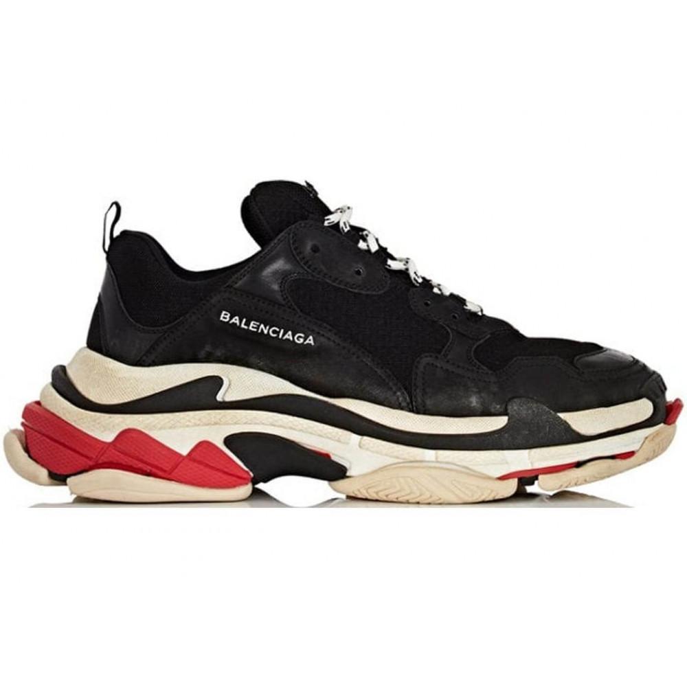 Демисезонные кроссовки мужские   - Мужские кроссовки Balenciaga Triple S Black Red 7