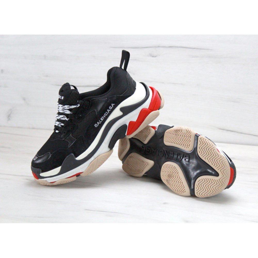 Демисезонные кроссовки мужские   - Мужские кроссовки Balenciaga Triple S Black Red 2