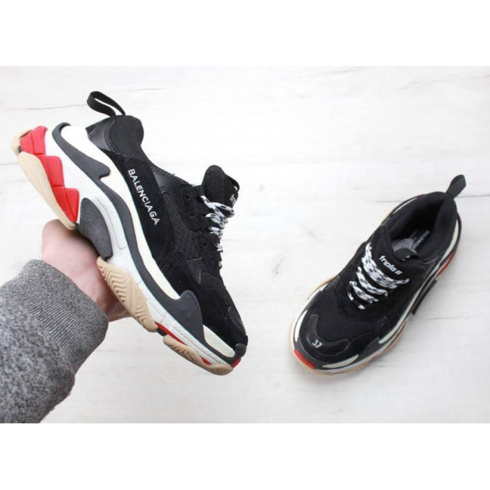 Демисезонные кроссовки мужские   - Мужские кроссовки Balenciaga Triple S Black Red 5