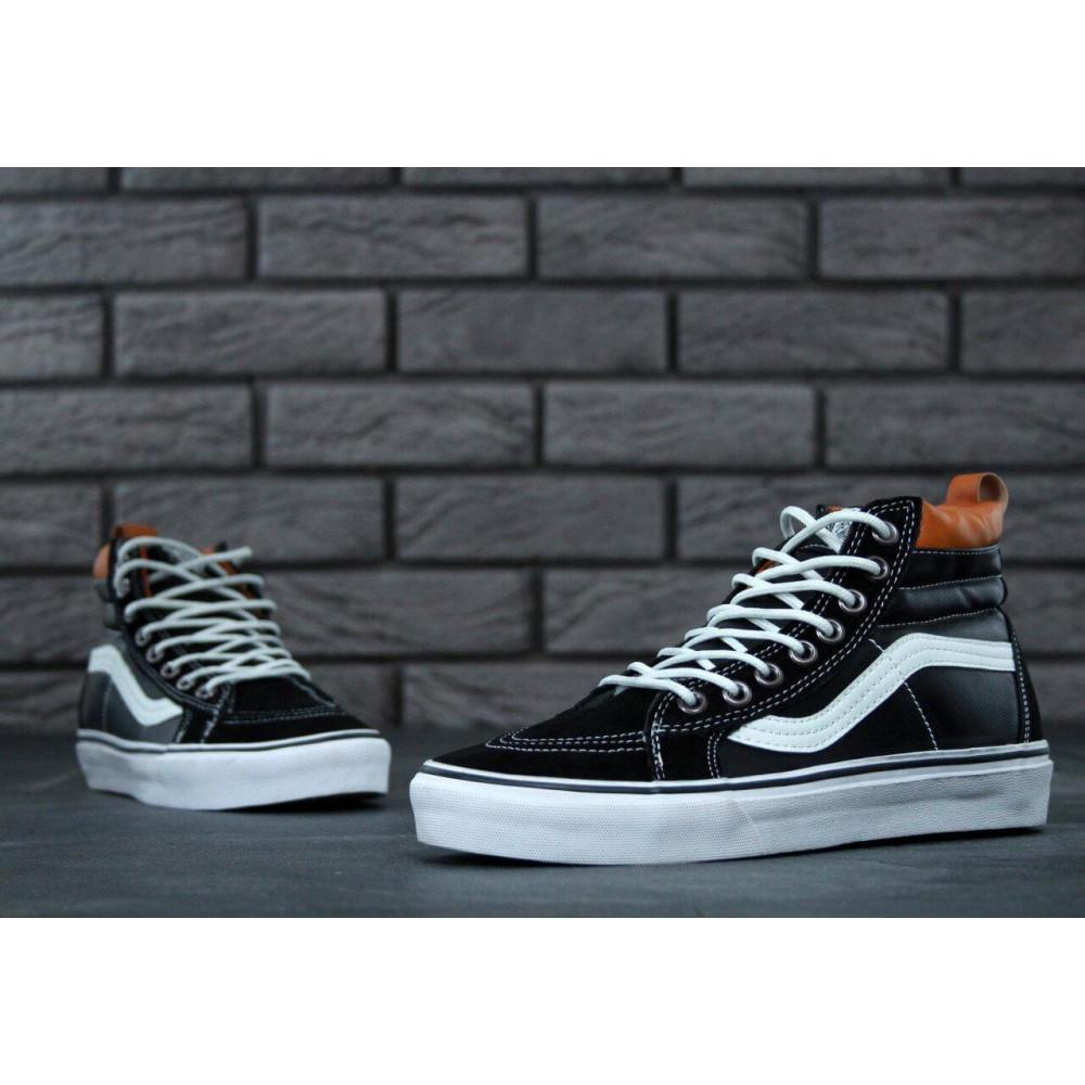 Мужские кеды демисезонные - Кеды Vans SK8 Old Skool Black Leather 3