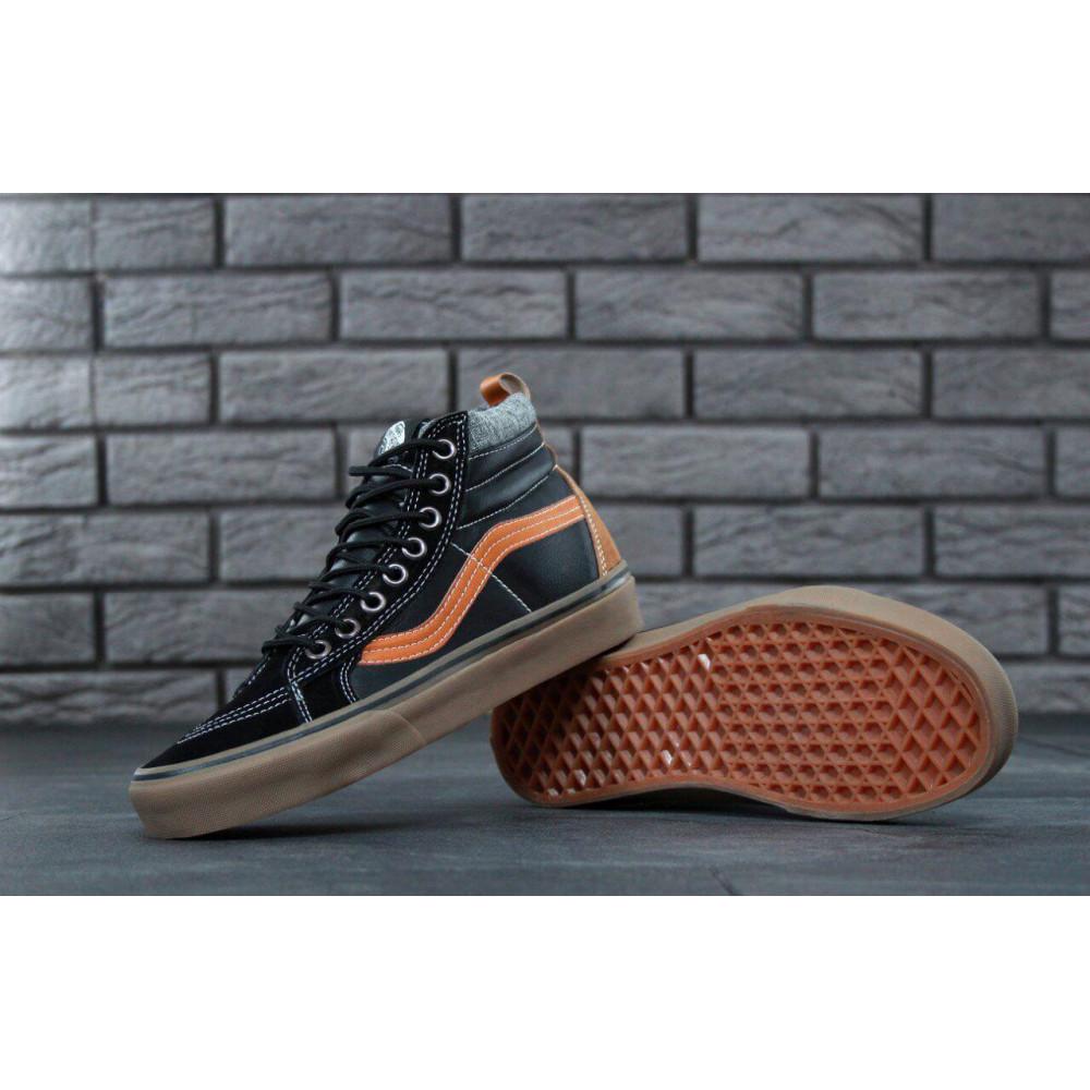 Мужские кеды демисезонные - Кеды Vans SK8 Old Skool Black Red Leather 3