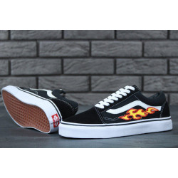 Кеды Vans Old Skool Black White Fire