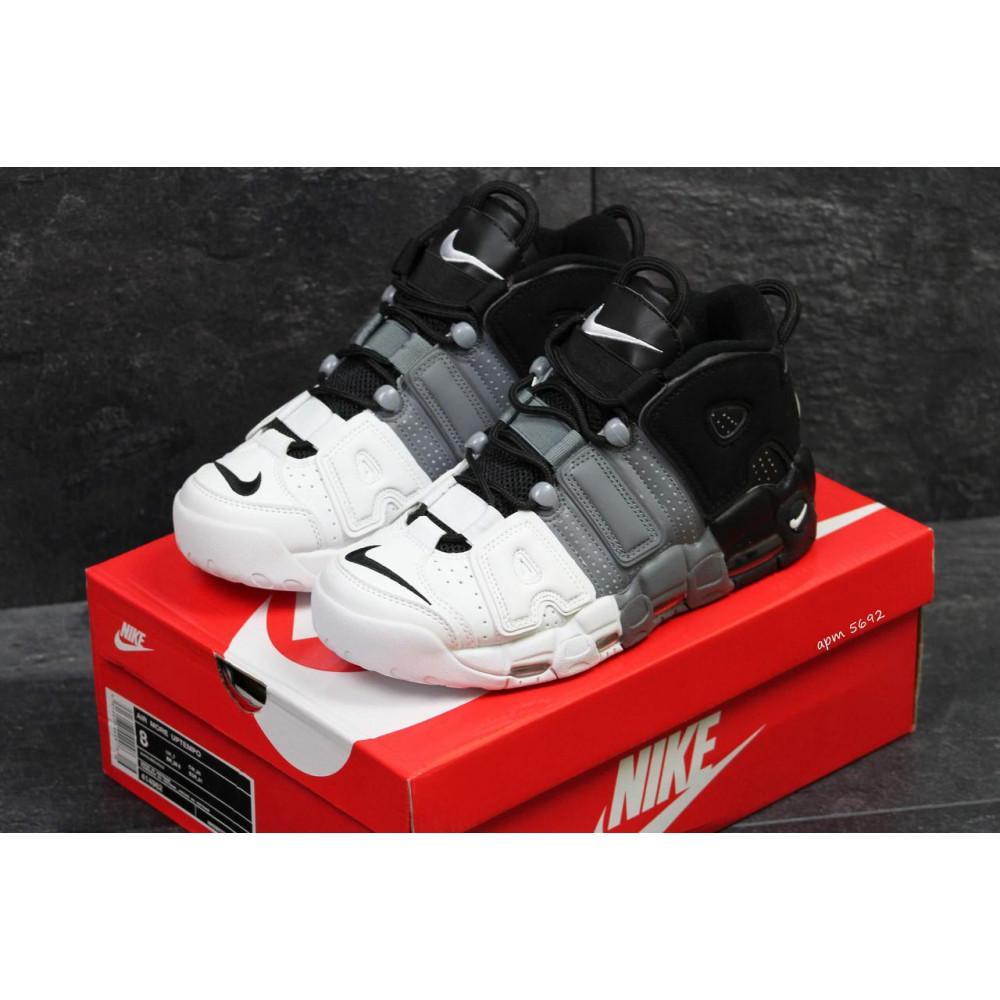 Демисезонные кроссовки мужские   - Мужские кроссовки Air More Uptempo Grey Black White 3