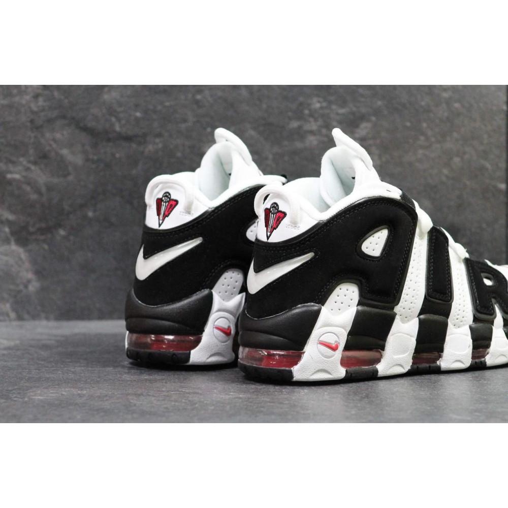 Кожаные кроссовки мужские - Мужские кожаные кроссовки Nike Air More Uptempo черно-белые 1