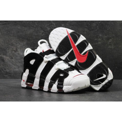 Мужские кожаные кроссовки Nike Air More Uptempo черно-белые