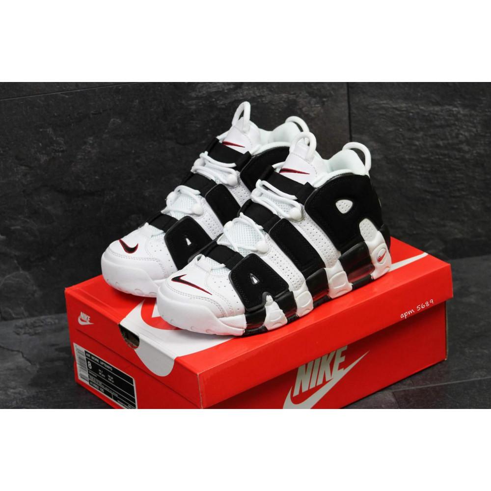 Кожаные кроссовки мужские - Мужские кожаные кроссовки Nike Air More Uptempo черно-белые 2