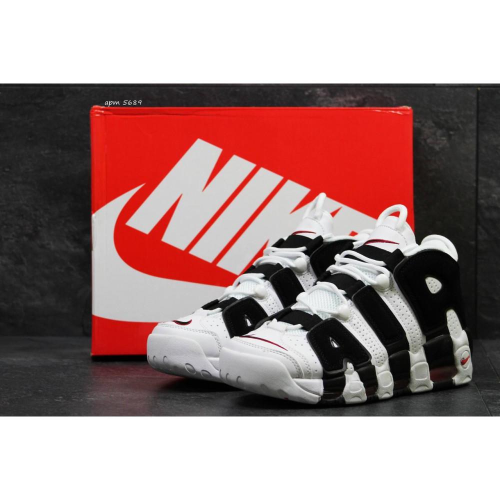 Кожаные кроссовки мужские - Мужские кожаные кроссовки Nike Air More Uptempo черно-белые 3