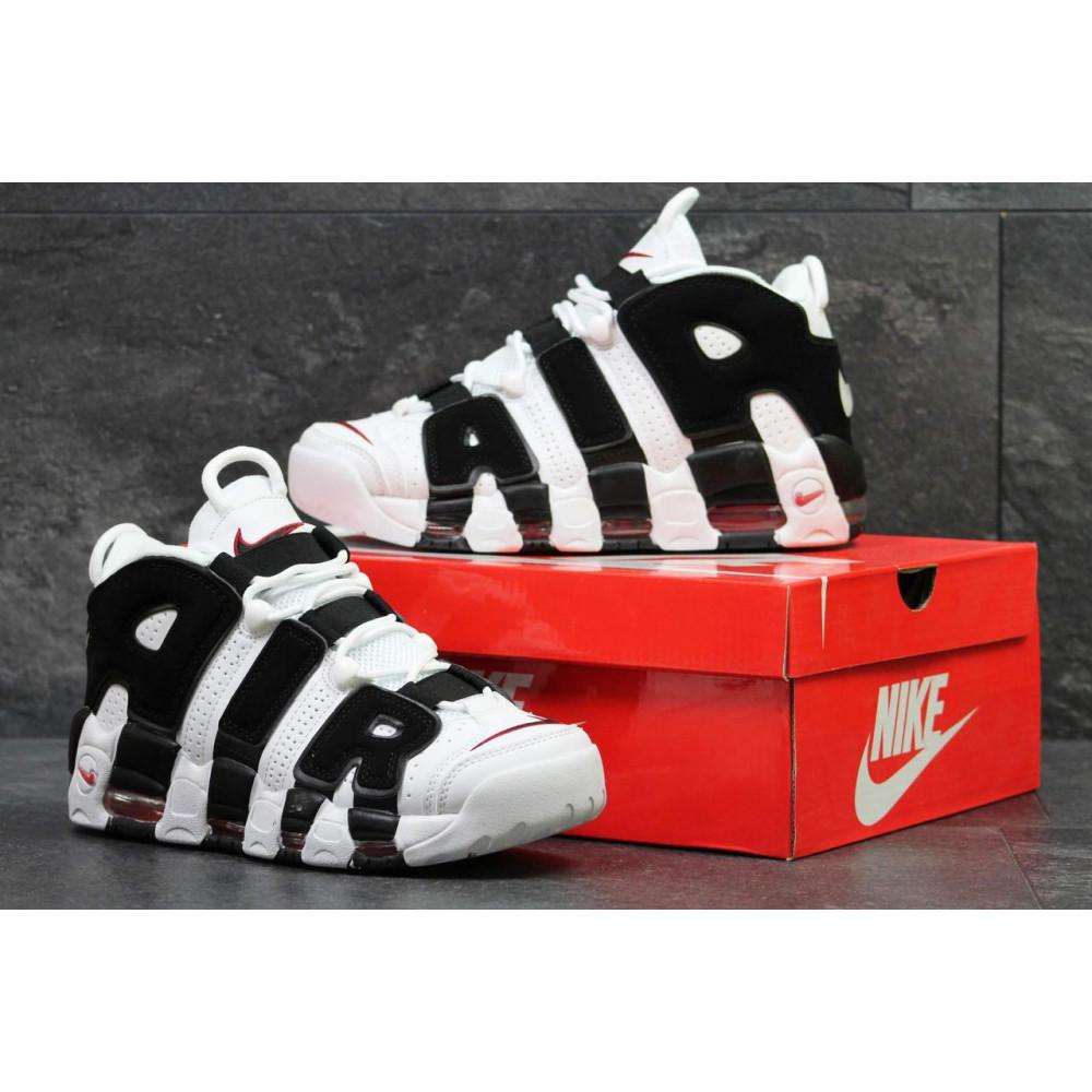 Кожаные кроссовки мужские - Мужские кожаные кроссовки Nike Air More Uptempo черно-белые 4