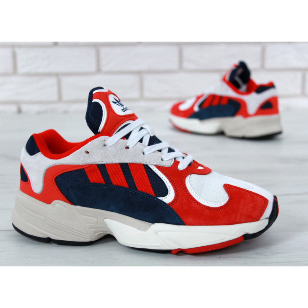Классические кроссовки мужские - Кроссовки Adidas Yeezy Yung-1 White Red Suede 6