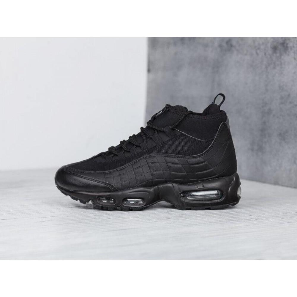 Зимние кроссовки мужские - Мужские теплые кроссовки Air Max 95 Sneakerboot в черном цвете 1
