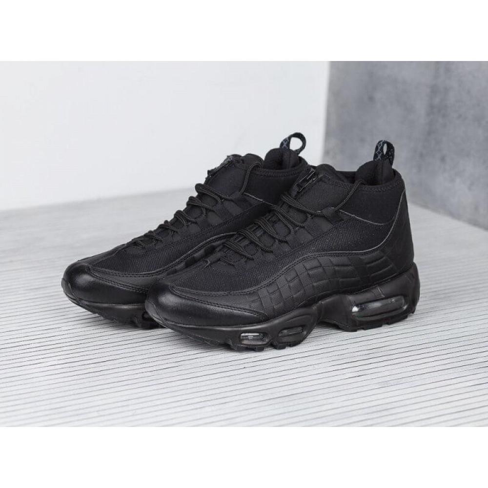 Зимние кроссовки мужские - Мужские теплые кроссовки Air Max 95 Sneakerboot в черном цвете 2