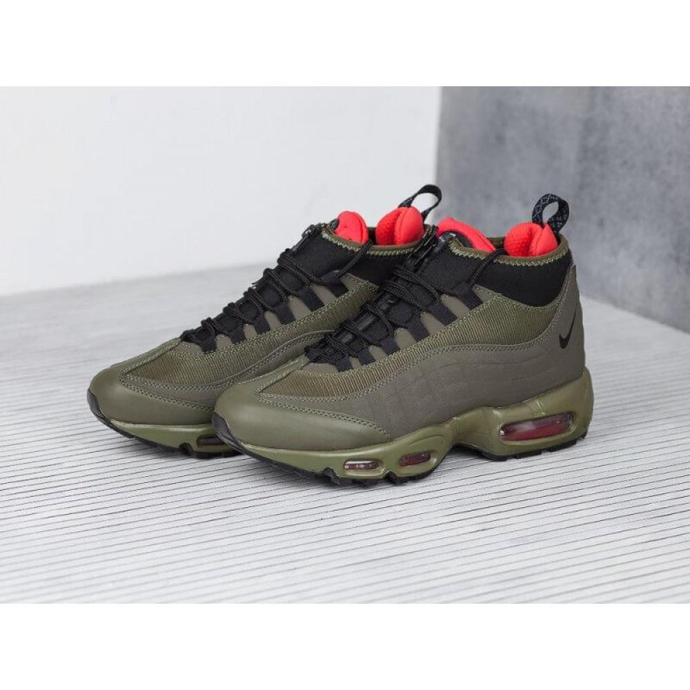 Зимние кроссовки мужские - Мужские термо кроссовки Nike Air Max 95 Sneakerboot Olive Red Cargo Khaki 8
