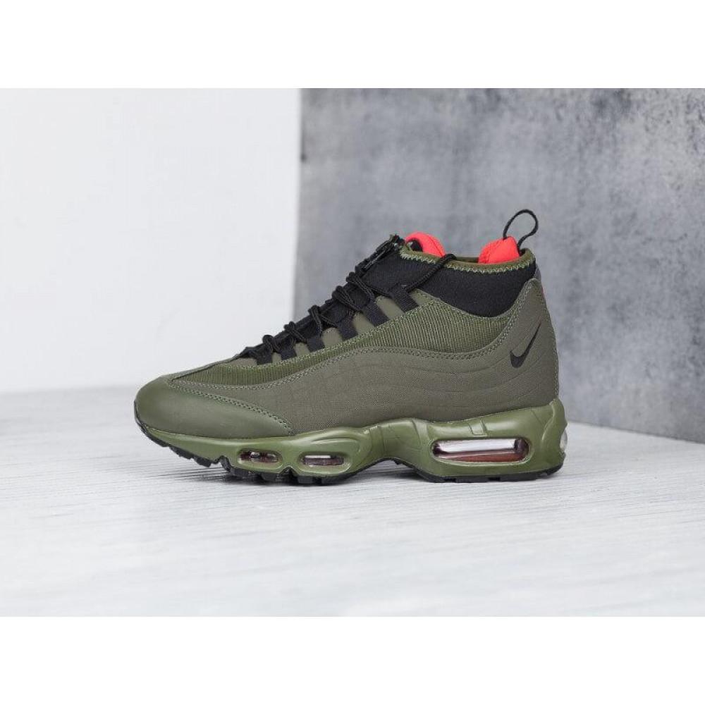 Зимние кроссовки мужские - Мужские термо кроссовки Nike Air Max 95 Sneakerboot Olive Red Cargo Khaki 9