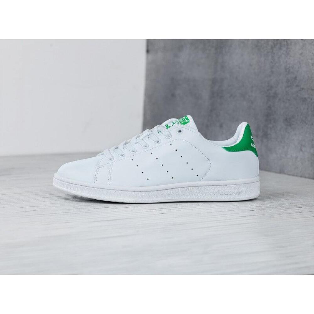 Летние кроссовки мужские - Кроссовки Adidas Stan Smith белые с зеленым 1