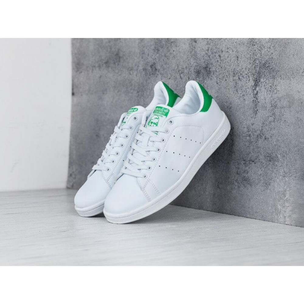 Летние кроссовки мужские - Кроссовки Adidas Stan Smith белые с зеленым