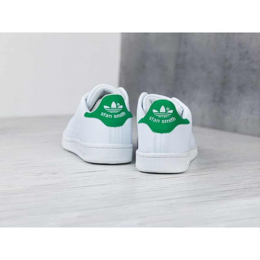 Летние кроссовки мужские - Кроссовки Adidas Stan Smith белые с зеленым 3