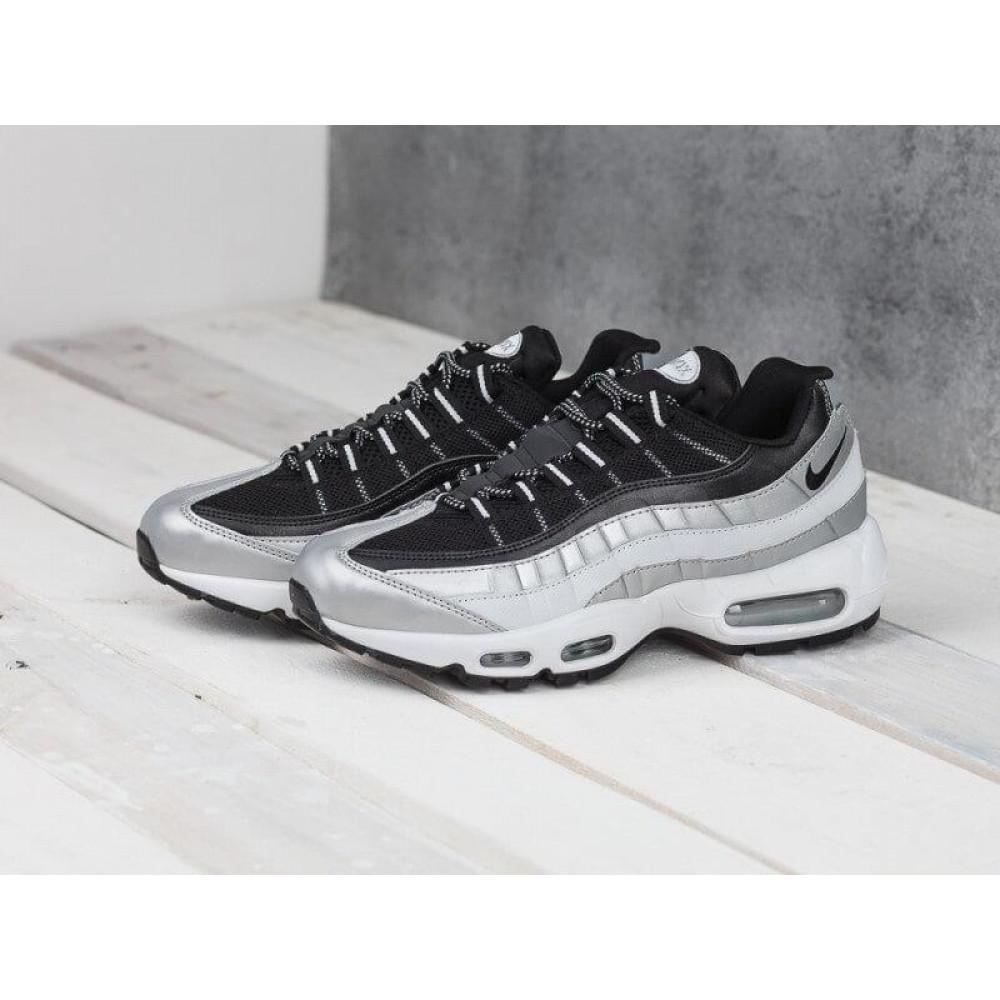 Демисезонные кроссовки мужские   - Мужские модные кроссовки Nike Air Max 95 Silver Black 7