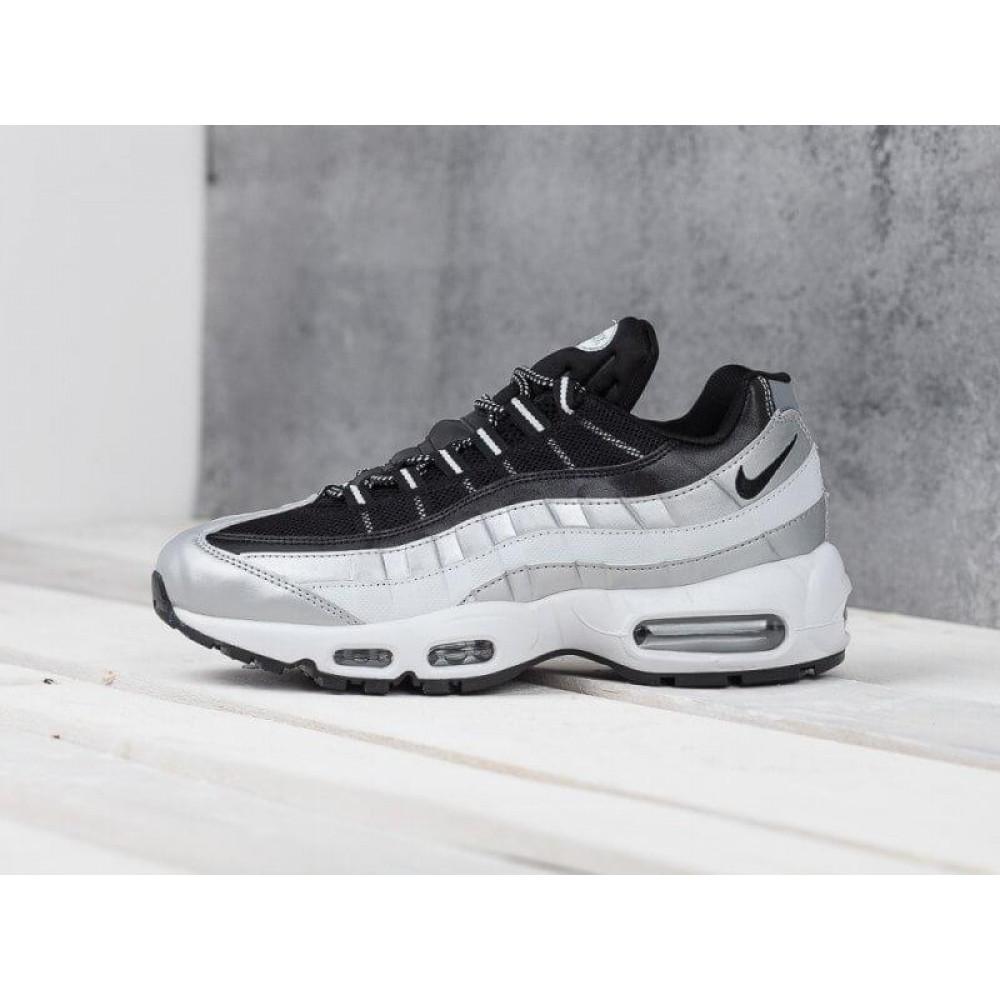 Демисезонные кроссовки мужские   - Мужские модные кроссовки Nike Air Max 95 Silver Black 9