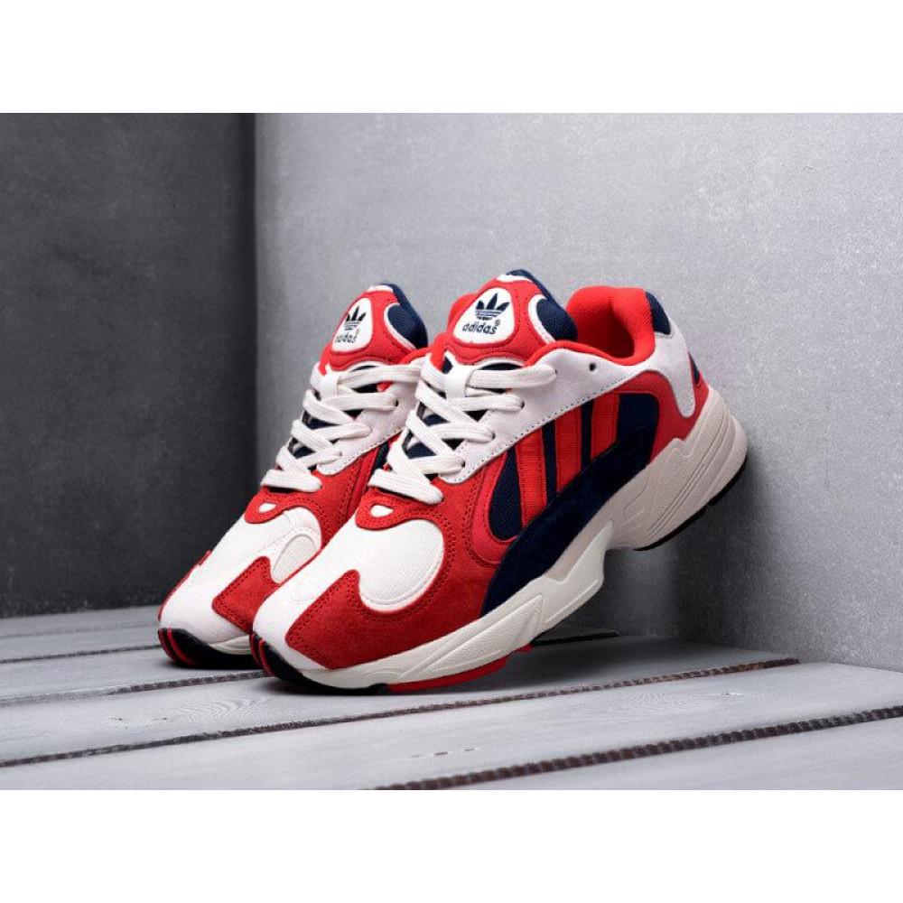 Классические кроссовки мужские - Кроссовки Adidas Yeezy Yung-1 White Red Suede