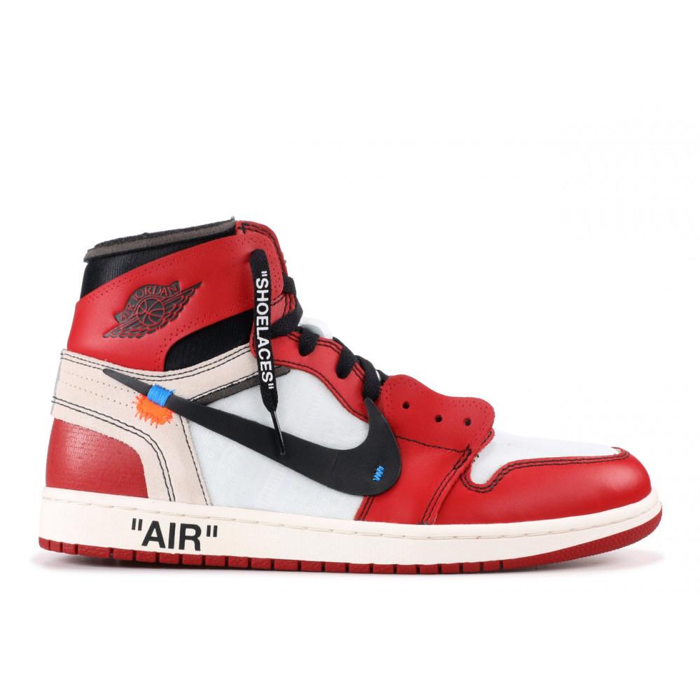 Демисезонные кроссовки мужские   - Баскетбольные мужские кроссовки Air Jordan 1 Off White в бело-красном цвете 1