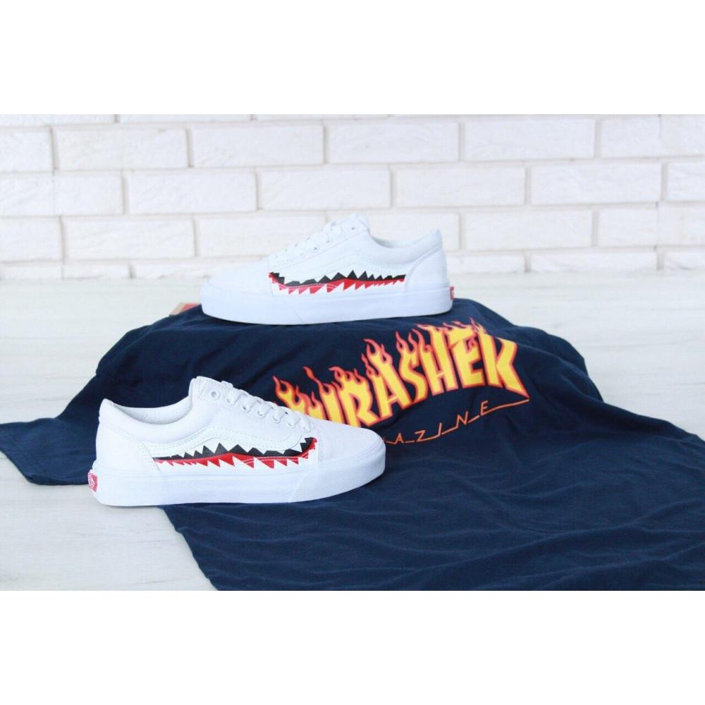Женские кеды летние - Кеды Vans Old School Shark Black White 2