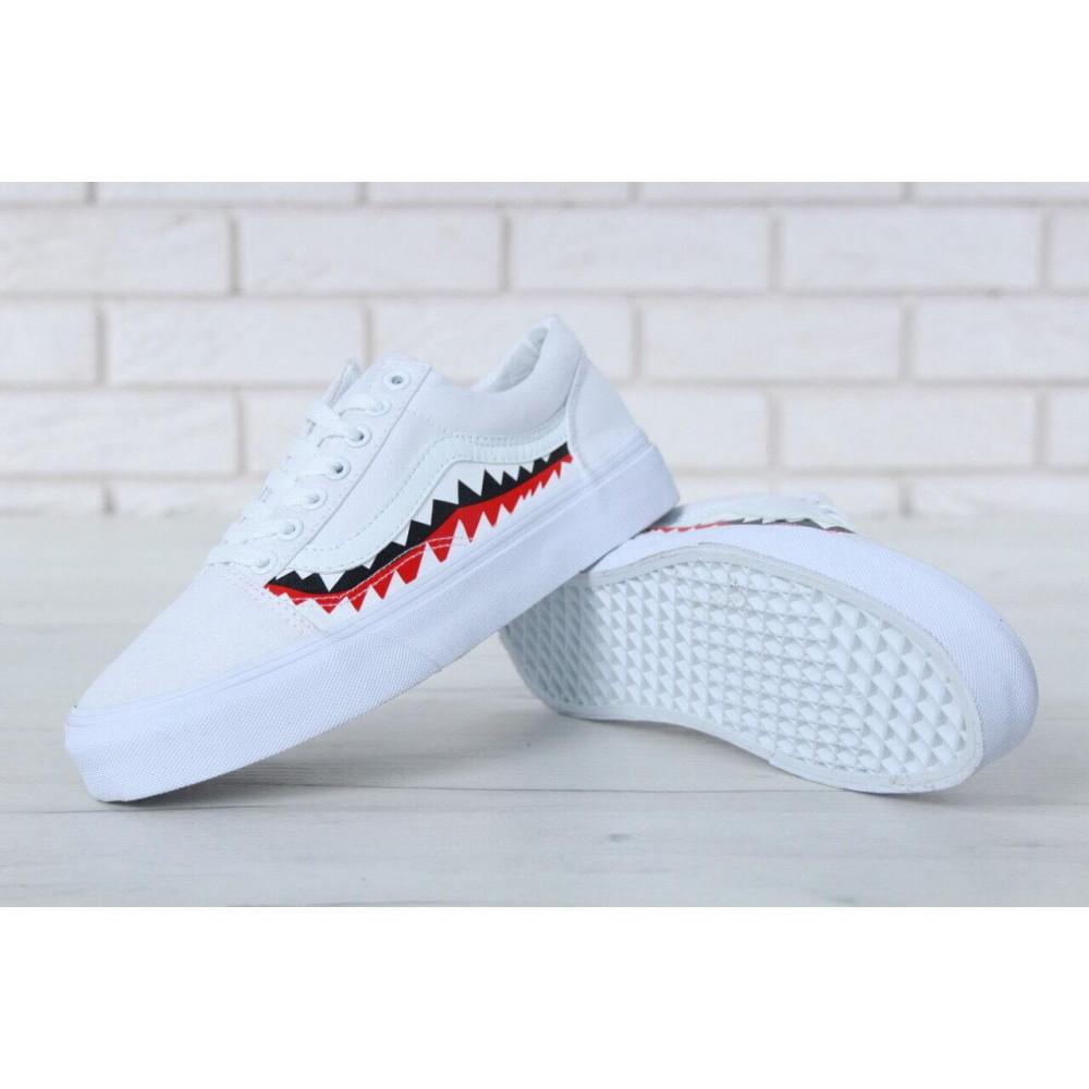 Женские кеды летние - Кеды Vans Old School Shark Black White 1