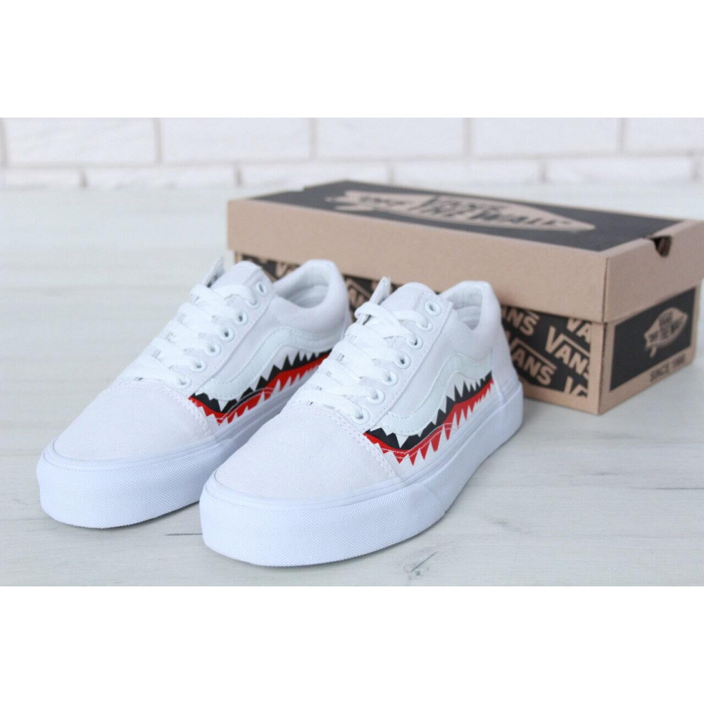 Женские кеды летние - Кеды Vans Old School Shark Black White 4