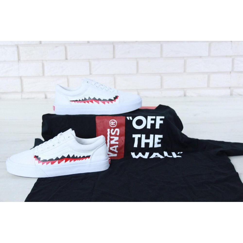 Женские кеды летние - Кеды Vans Old School Shark Black White 3