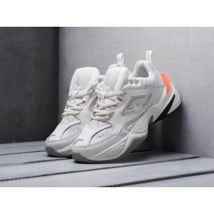 Женские кожаные кроссовки Найк М2К Текно белые с оранжевым
