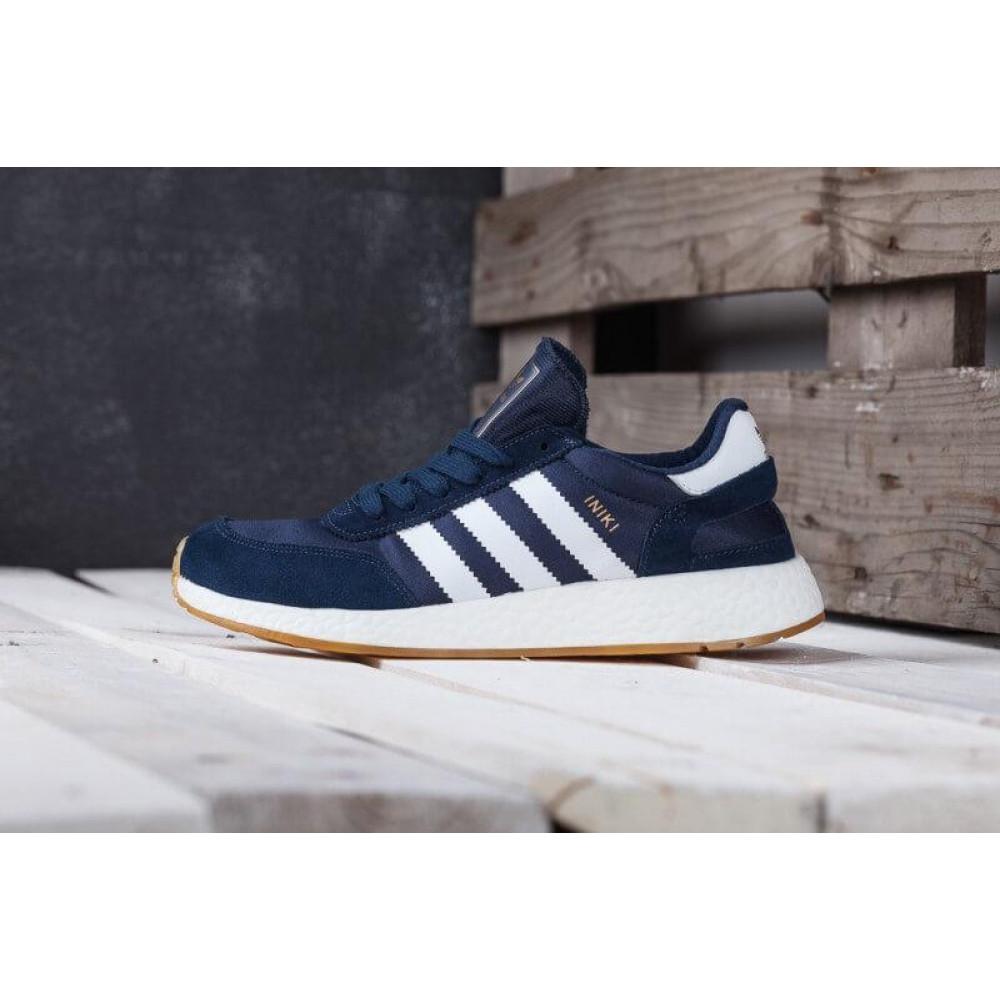 Демисезонные кроссовки мужские   - Кроссовки Adidas Iniki Runner Boost Navy Blue Gum 1