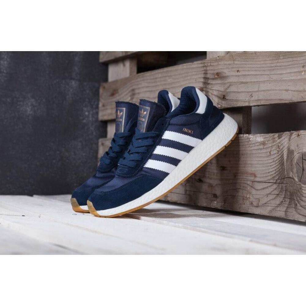 Демисезонные кроссовки мужские   - Кроссовки Adidas Iniki Runner Boost Navy Blue Gum