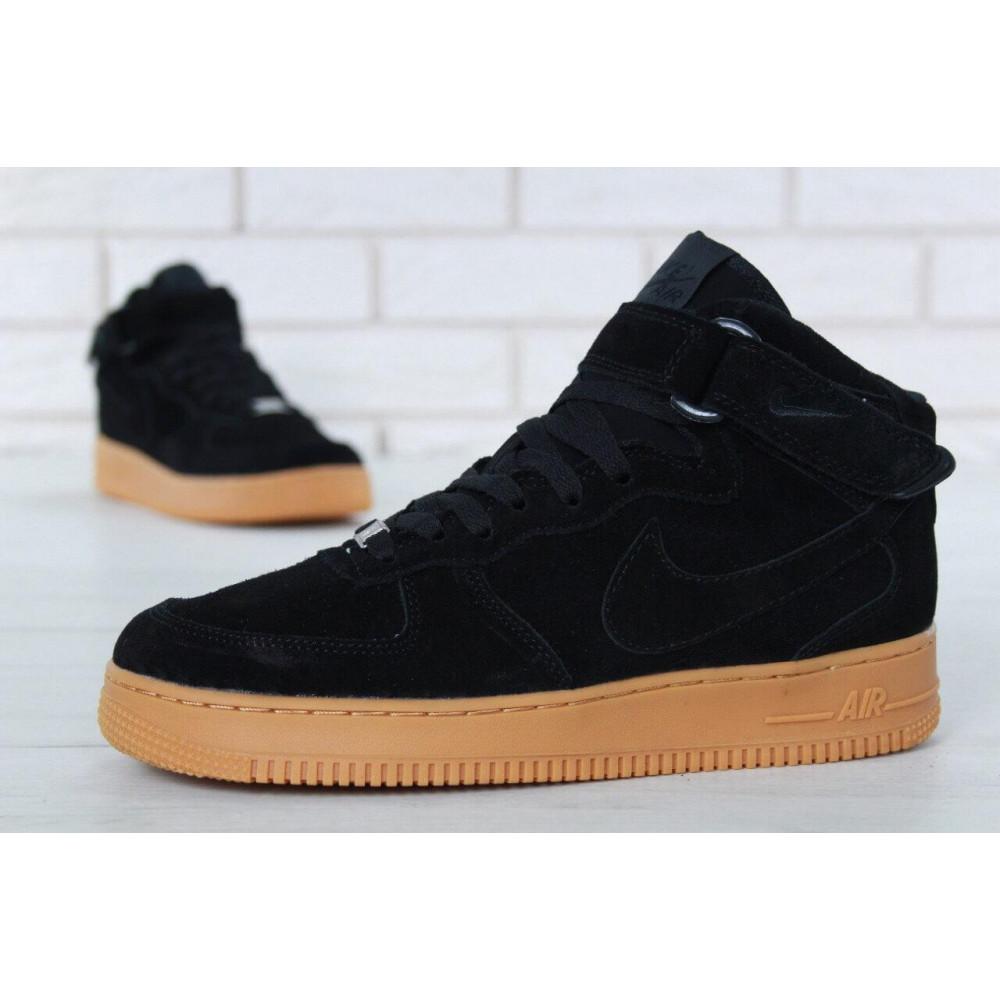 Зимние кроссовки мужские - Мужские зимние кроссовки с мехом Nike Air Force 1 High Black Gum Winter 1