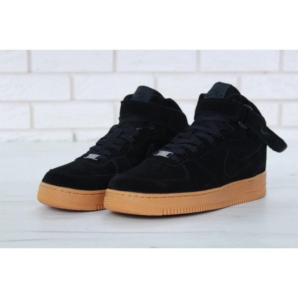 Зимние кроссовки мужские - Мужские зимние кроссовки с мехом Nike Air Force 1 High Black Gum Winter 2