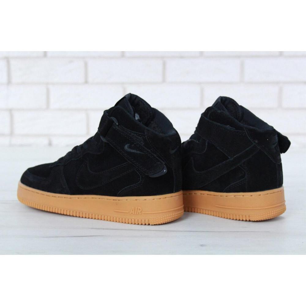 Зимние кроссовки мужские - Мужские зимние кроссовки с мехом Nike Air Force 1 High Black Gum Winter 3