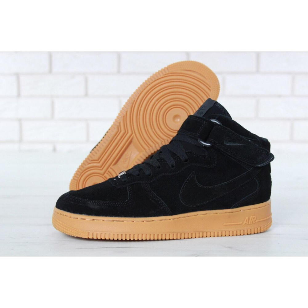 Зимние кроссовки мужские - Мужские зимние кроссовки с мехом Nike Air Force 1 High Black Gum Winter 7