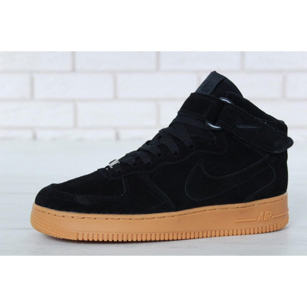 Зимние кроссовки мужские - Мужские зимние кроссовки с мехом Nike Air Force 1 High Black Gum Winter 5