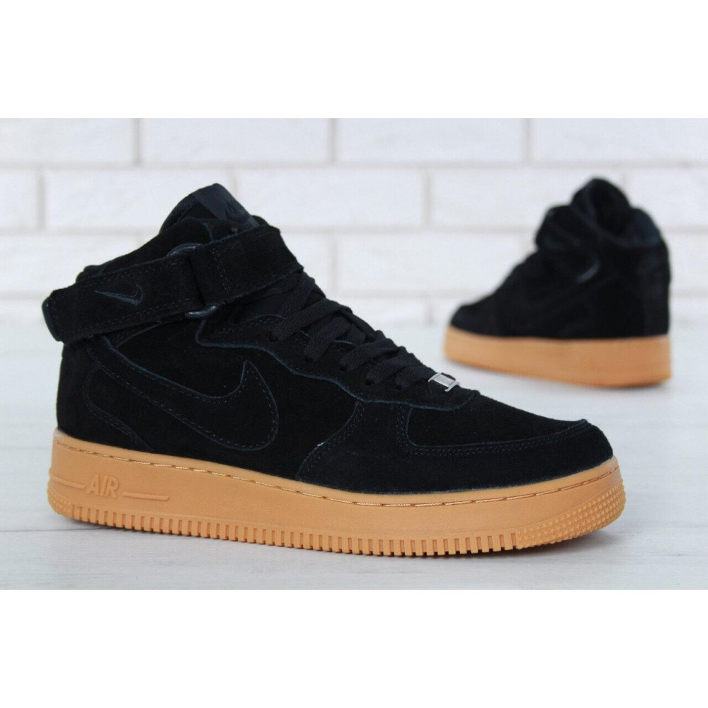 Зимние кроссовки мужские - Мужские зимние кроссовки с мехом Nike Air Force 1 High Black Gum Winter 4