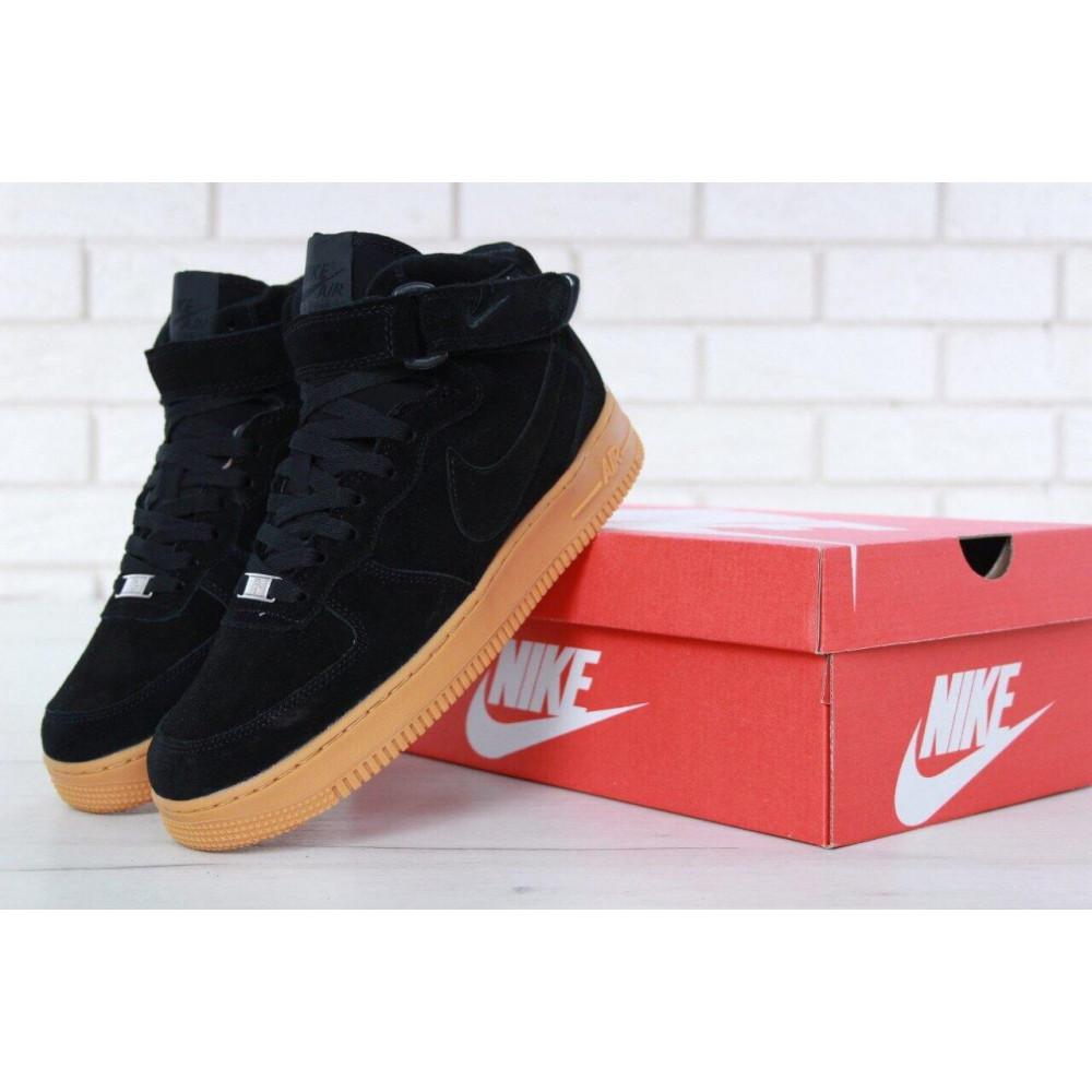 Зимние кроссовки мужские - Мужские зимние кроссовки с мехом Nike Air Force 1 High Black Gum Winter