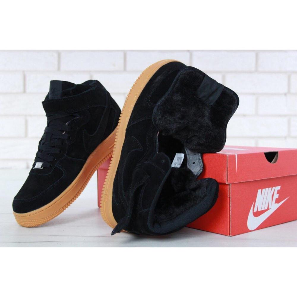 Зимние кроссовки мужские - Мужские зимние кроссовки с мехом Nike Air Force 1 High Black Gum Winter 8