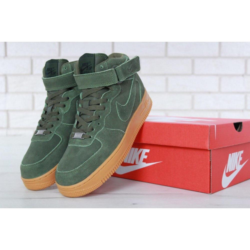 Зимние кроссовки мужские - Мужские зимние кроссовки с мехом Nike Air Force 1 High Green Winter