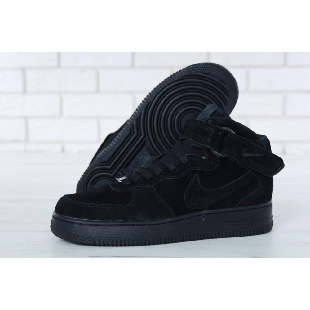 Зимние кроссовки мужские - Мужские зимние кроссовки с мехом Nike Air Force 1 High Triple Black Winter 2