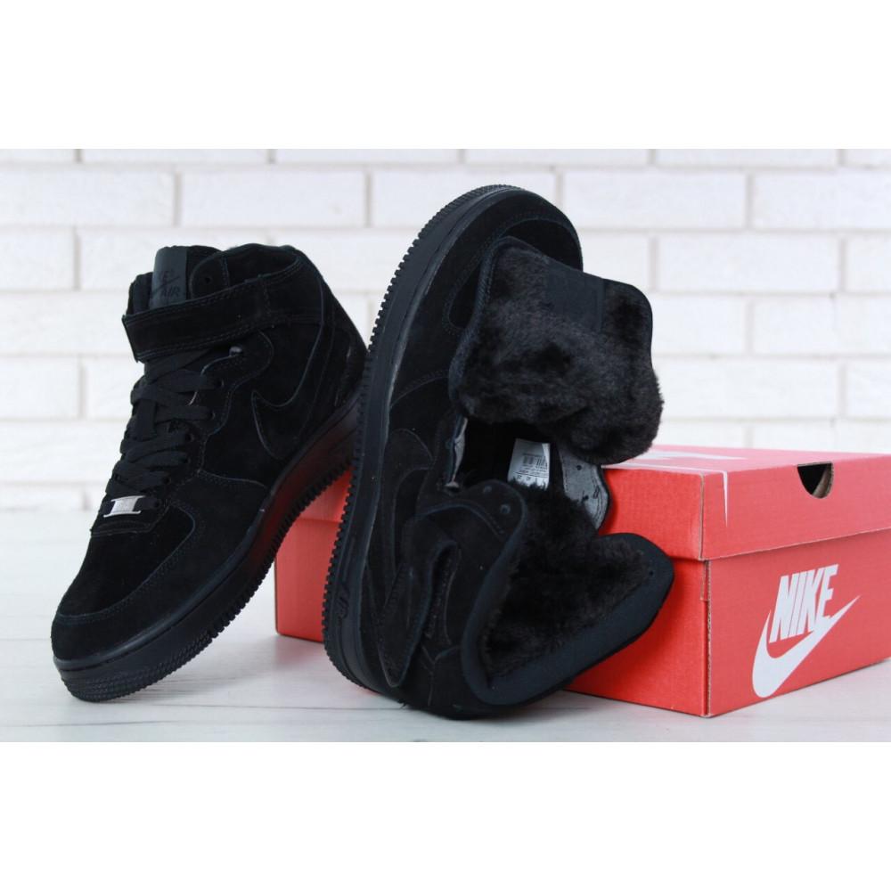 Зимние кроссовки мужские - Мужские зимние кроссовки с мехом Nike Air Force 1 High Triple Black Winter 8