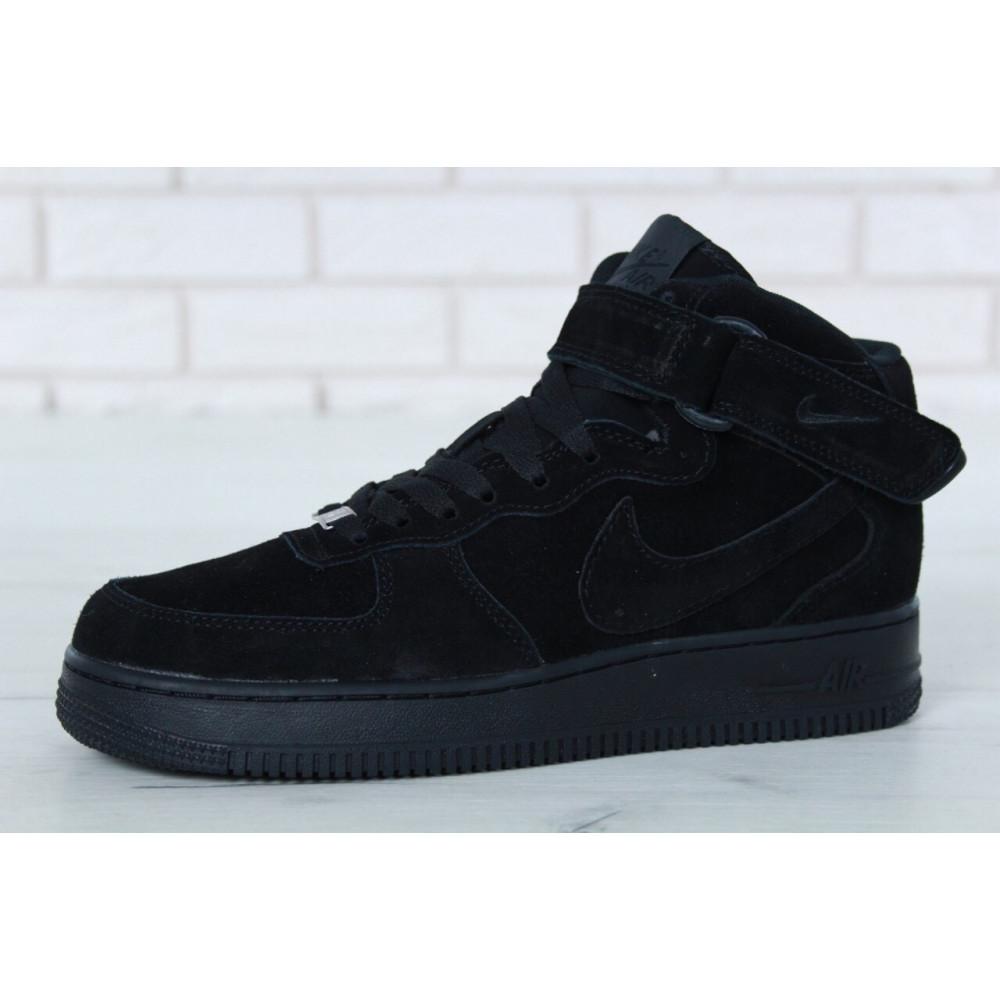 Зимние кроссовки мужские - Мужские зимние кроссовки с мехом Nike Air Force 1 High Triple Black Winter 1
