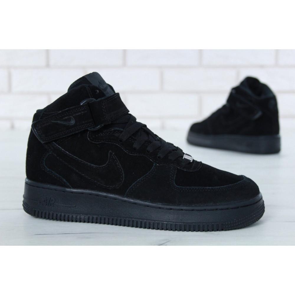 Зимние кроссовки мужские - Мужские зимние кроссовки с мехом Nike Air Force 1 High Triple Black Winter 5